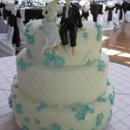 130x130 sq 1247537762927 tiffanybluedaisyweddingcake