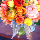 130x130 sq 1426282785849 melon tone centerpiece in mason jar ranunculus dah