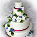 130x130 sq 1297270605726 whiterosesfuschiablueweddingcakecopy