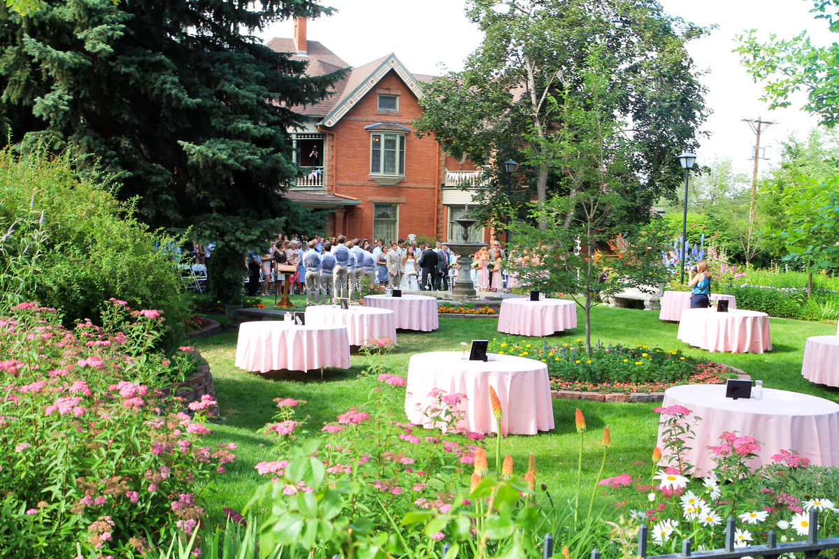 Historic callahan house and garden wedding ceremony for Wedding dress rental denver co