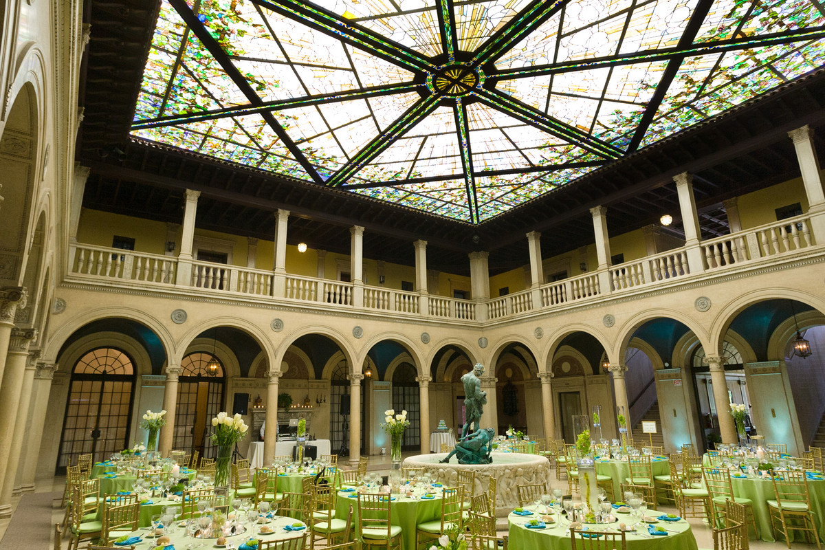 the patio at archmere academy wedding ceremony