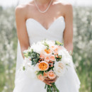 130x130 sq 1442607056824 bridal bouquet with peach garden roses white peoni