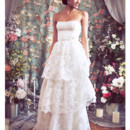 130x130 sq 1375815660846 tiered lace strapless ballgown bridal rebecca  schoneveld a