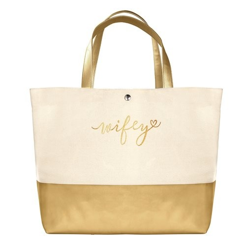 special gift for just the bride—we adore this glittery gold tote ...
