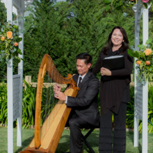 220x220 sq 1428976375472 wei and peng z officiant and harp