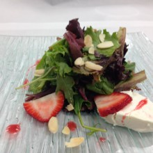 220x220 sq 1503082050894 goat cheese almonds strawberry salad