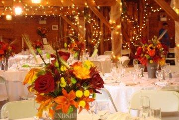 Brown burgundy green orange red yellow centerpiece - Yellow and orange wedding decorations ...