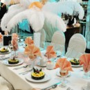 130x130 sq 1442605027038 peach feathers centerpieces