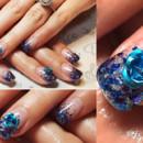 130x130 sq 1490042807465 blue glitter fade rose nail art manicure