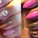 130x130 sq 1490043057534 pink gold rhinestone acrylic nails