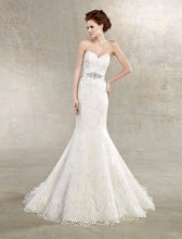 Anne Style #H1208 Strapless lace gown with beaded belt at natural waist.