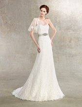 Jasmine Style #H1228 Sweetheart lace gown with illusion sleeve is adorned with an embellished belt at natural waist and beading throughout.