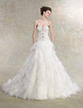 Chanel Style #K1212 Sweetheart A-line gown with beaded bodice and tiered ruffled skirt.