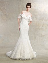 Bluebell Style #K1219 Vintage lace gown with detachable off shoulder lace bolero.