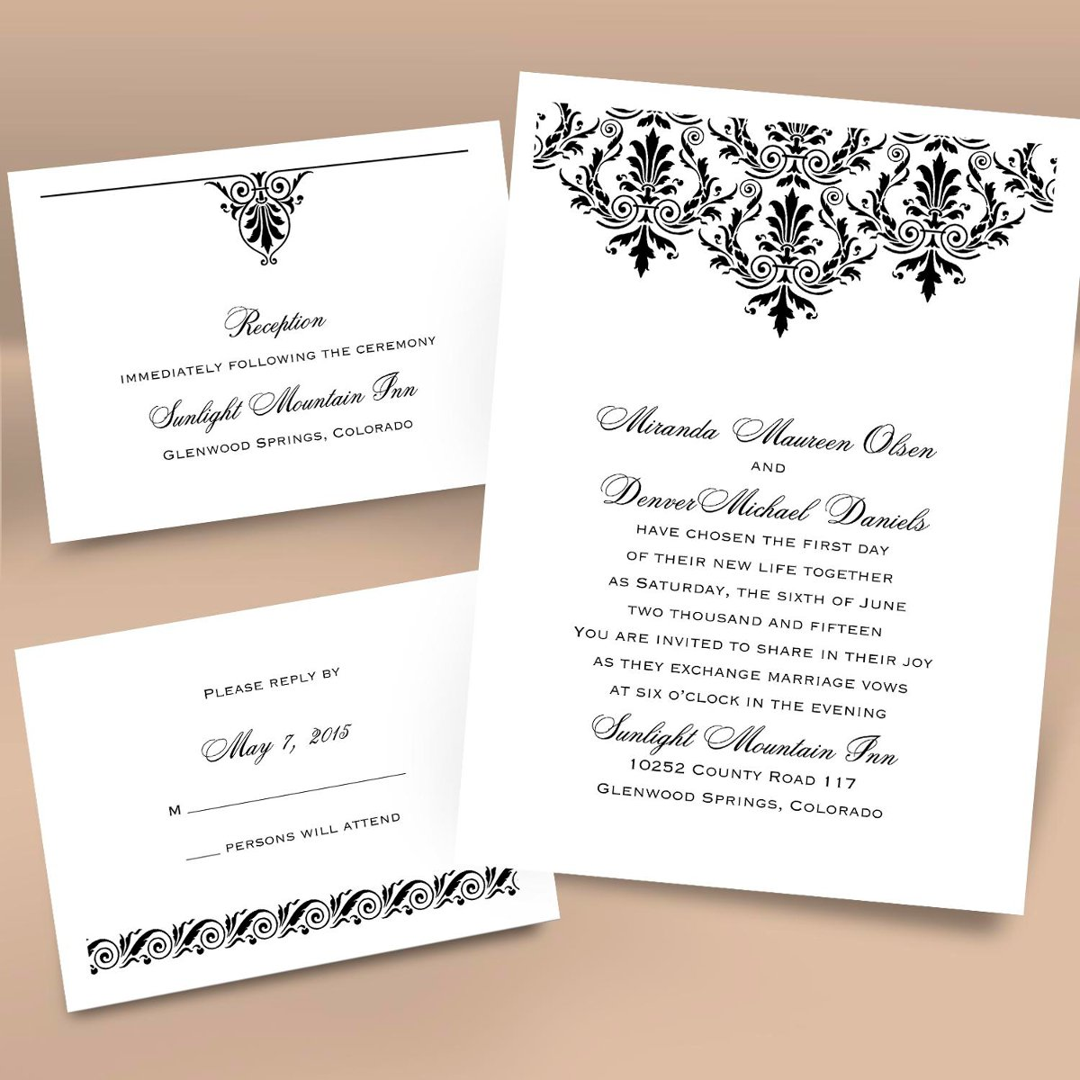 Wording For Wedding Registry Card : ... cards (respond card and reception card) on one convenient sheet. They