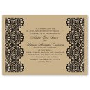 Luxurious Borders Invitation A luxurious lace border draws all attention to your wedding details on these kraft paper wedding invitations. The lace design and your wording are printed in your choice of ink color. Don't forget the matching enclosure cards also printed on kraft paper! This invitation features thermography printing, an affordable printing process that results in raised lettering. Invitation includes blank outer envelopes. Invitation is printed on 100# cover stock.