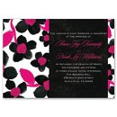 Watercolor Flower Invitation Bright pink and black create a bold combination of colors for these watercolor flowers wedding invitations. Choose any imprint color and typestyle for your wording. Invitation includes outer envelopes. Matching enclosures include a response card and response postcard, so you can choose how much money you would like to save. Enclosures are printed on non-folding cards.