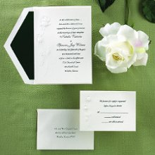 Best Buds Wedding Invitations - A perfect rose and rosebud are embossed at the side of this folded invitation of natural white paper. Your wording is printed on the front. Folded Size: 5