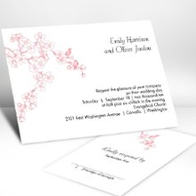 Birds in Cherry Blossoms in Petal Wedding Invitations - Delicate cherry blossoms create the perfect resting spot for the two love birds featured on this white, non-folding invitation. Choose an imprint color and typestyle for your wording. Format only available as shown. Enclosures and thank you notes are printed on non-folding cards. Invitation size: 6 1/4