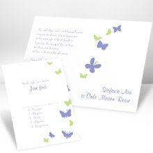 Butterflies in Flight Hydrangea Invitations - Butterflies take flight next to your wording on this white, non-folding wedding invitation. Your choice of imprint color and typestyle for your wording. Format only available as shown. Enclosures and thank you notes are printed on non-folding cards. Invitation size: 6 1/4
