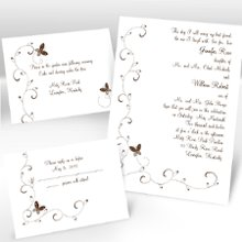 Butterflies Separate and Send Wedding Invitations - Butterflies flutter beside your wording creating a pretty, carefree design on this white separate 'n send invitation. Choose an ink color for your wording. Design will be printed in the same ink color. Separate 'n send invitations come with two detachable enclosure cards (respond card and reception card) on one convenient sheet. They also come with invitation envelopes and respond card envelopes for a complete, coordinated stationery set. Special Note: Separate 'n send enclosures are perforated for detaching from invitation. Invite: 5 1/8