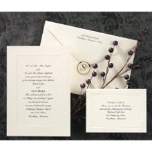 Classic Tradition Wedding Invitations - A delicately embossed triple panel surrounds your wording on this ecru non-folding invitation card. Invitation Size: 5 1/8