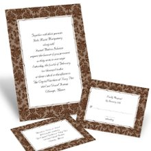Clearly Refined - Chocolate Wedding Invitations - This invitation's classic damask design appeals to the most refined of tastes (for a fine price, we might add). Design in chocolate and your choice of imprint color for your wording. Your choice of typestyle. Format only available as shown. Enclosures and thank you notes are printed on non-folding cards. Invitation size: 4 5/8