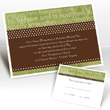 Day Dream Kiwi Wedding Invitations - This invitation will show guests just what you've been dreaming about since the two of you met. Design color in Kiwi and your choice of typestyle. Format only available as shown. Imprint color for wording only available as shown. Enclosures and thank you notes are printed on non-folding cards. Invitation size: 6 1/4