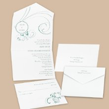 Dreamy Seal and Send Wedding Invitations - This white seal and send features exceptional design to complement your wording. Choose an ink color for your wording. Design will be printed in the same ink color. Seal-n-sends come with a perforated card at the bottom printed with your response wording on one side and your address on the other. Your return address is printed on the outer flap. Price includes clear round seals for securing the invitations. Other seals may be purchased separately. Folded size: 6