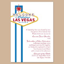 "Fabulous Vegas Blue Wedding Invitations - What better way to introduce your Vegas wedding than with its classic neon lights welcoming friends and family! This white, non-folding invitation features a Vegas design in blue and gold. Choose an imprint color and typestyle for your wording. Design only available as shown. Invitation size: 5 1/8"" x 7 1/4"""