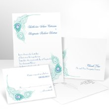 Feather Fancy Wedding Invitation with Free Respond Cards - Peacock feathers add elegance and color to this bright white, non-folding peacock wedding invitation. Your choice of typestyle. Format only available as shown. Respond card and respond envelopes come FREE! Enclosures and thank you notes are printed on non-folding cards. Invitation size: 5 1/8 x 7 1/4