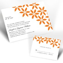 Floral Delight Tangerine Wedding Invitations - Guests will delight in the fresh floral design accompanying your wording on this invitation. Tangerine design with your choice of imprint color for your wording. Your choice of typestyle. Format only available as shown. Enclosures and thank you notes are printed on non-folding cards. Invitation size: 4 5/8