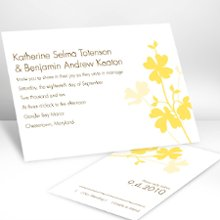 Floral Shadow Canary Wedding Invitations - Shadows of colorful flowers with faint silhouettes accompany your wording on this white, non-folding invitation. Choose an imprint color and typestyle for your wording. Format only available as shown. Enclosures and thank you notes are printed on non-folding cards. Invitation size: 4 5/8