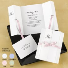 Formal Affair Wedding Invitations - The front panels of this elegantly folded, bright white invitation are lined with shimmering pearl for a beautiful effect. Delicate satin ribbon is threaded through pre-punched holes and tied into a bow. A design of your choice and your wording are printed in the same ink color. Ribbon is pre-cut to 26