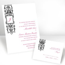 Framed Monogram Ebony Invitations - Give your soon-to-be last name the emphasis it deserves on this white, non-folding invitation featuring an elegant column design and a frame around the last name initial. The initial is printed in the same imprint color as your wording. Please note: when your order is printed, initial will be centered within the box. Your choice of typestyle. Format only available as shown. Enclosures and thank you notes are printed on non-folding cards. Invitation size: 4 5/8