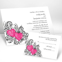 Hearts and Flourishes Lipstick Wedding Invitations - Hearts and flourishes symbolize your everlasting love on this white, non-folding invitation. Choose an imprint color and typestyle for your wording. Format only available as shown. Enclosures and thank you notes are printed on non-folding cards. Invitation size: 6 1/4