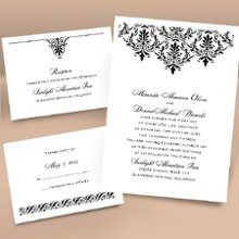 High Style Separate and Send Wedding Invitations - High style for a low price is exactly what you get with this white separate and send invitation featuring a damask pattern accenting your wording. Choose an ink color for your wording. Design will be printed in the same ink color. Separate and send invitations come with two detachable enclosure cards (respond card and reception card) on one convenient sheet. They also come with invitation envelopes and respond card envelopes for a complete, coordinated stationery set. 5 1/8