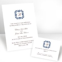Initial Love Eclipse Wedding Invitations - Your single-initial monogram looks even lovelier within the whimsical frame featured at the top of this white, non-folding wedding invitation. Your choice of imprint color and typestyle for your wording. Enclosures and thank you notes are printed on non-folding cards. This invitation can be used for Wedding Invitations or Wedding Announcements! Invitation size: 4 5/8