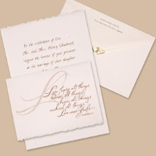 Just Believe Wedding Invitations - A French-fold of white, deckle-edge parchment is printed with the beautiful words from 1 Corinthians 13:7-8. Your wording is printed inside. The design and your wording are printed in the same color. The front verse is available in the typestyle shown. Folded Size: 6 1/8
