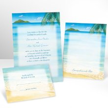 Ocean View Wedding Invitations with Free Respond Card - A fruity frozen drink with an umbrella on the side is about the only thing more tropical than this wedding invitation! The bright white, non-folding card features your wording surrounded in a tropical scene. Respond card and respond envelopes come FREE! Enclosures and thank you notes are printed on non-folding cards. Invitation size: 5 1/8 x 7 1/4