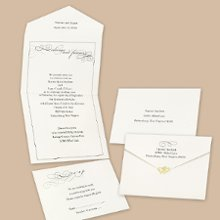 Old-Fashioned Style Seal and Send Wedding Invitations - This stylish, ecru seal-n-send is graced with a touch of old-fashioned charm. Choose an ink color for your wording. Design will be printed in the same ink color. Seal-n-sends come with a perforated card at the bottom printed with your response wording on one side and your address on the other. Your return address is printed on the outer flap. Price includes clear round seals for securing the invitations. Other seals may be purchased separately. Folded size: 6