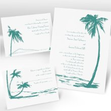On the Beach Separate and Send Wedding Invitations - Whether you're planning a destination wedding or a beach-themed wedding at home, this white separate 'n send invitation is a great choice. Choose an ink color for your wording. Design will be printed in the same ink color. Separate 'n send invitations come with two detachable enclosure cards (respond card and reception card) on one convenient sheet. They also come with invitation envelopes and respond card envelopes for a complete, coordinated stationery set. Special Note: Separate 'n send enclosures are perforated for detaching from invitation. Invite: 5 1/8
