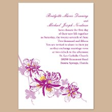 Orchids - Amethyst Wedding Invitations - A trail of orchids and silhouettes rests below your wording, creating an alluring wedding invitation. Choose an imprint color and typestyle for your wording. Design is printed in the same imprint color as your wording. Invitation size: 5 1/8