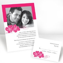 Pair of Flowers Photo Wedding Invitations in Lipstick - A pair of flowers complements the pair of you on this non-folding, photo wedding invitation. Choose an imprint color and typestyle for your wording. Response and reception enclosures are non-folding. Thank you notes and note cards are folding. Invitation Size: 7 1/4