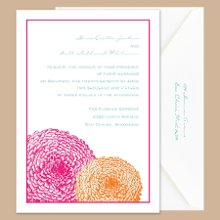 "Pair of Mums Lipstick and Tangerine Wedding Invitations - A cute pair of flowers is simply perfect for the pair of you! Two mums are printed in vibrant colors below your wording. Your choice of imprint color and typestyle. Design only available as shown. Invitation size: 5 1/8"" x 7 1/4"""