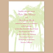 "Pretty Palms Pear Wedding Invitations - Pretty palm trees in pear create a tropical backdrop for your wording on this white, non-folding wedding invitation. Your choice of imprint color and typestyle. Additional design colors available online. Invitation size: 5 1/8"" x 7 1/4"" Enclosure size: 4 7/8"" x 3 1/2"""