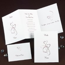 Skipped a Beat Wedding Invitations - You know the feeling! If a heart design could skip a beat, these would skip right off the page! The vibrant, swirling heart designs come to life on this bright white, z-fold invitation. A custom quotation of your choice is printed on the third panel at no extra charge. The heart design and all wording is printed in a single ink color of your choice. Folded Size: 5
