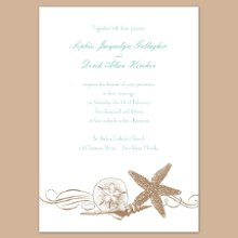 Starfish and Seashells in Latte Wedding Invitations - Bring a bit of the beach to each of your wedding guests with this white, non-folding wedding invitation featuring a collection of seaside treasures below your wording. Your choice of imprint color and typestyle. Design only available as shown. Invitation size: 5 1/8