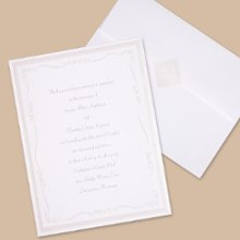 Subtle Accents Wedding Invitations - Slim ribbon and dainty flowers are embossed in pearlescent foil around your wording for a beautifully subtle and oh-so-romantic invitation! Includes free blank double envelopes and enclosures sold separately. Folded size: 4 1/2