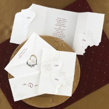 Union of Our Hearts Wedding Invitations - Symbolize the union of your hearts with pearl-embossed, interlocking hearts and roses. Your names are printed in the hearts, which